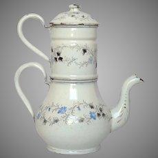 Antique French Enamel Drip Coffee Pot Biggin - Floral Graniteware Coffeepot