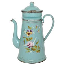 Hand Painted Floral Enamelware Drip Coffee Pot - Antique Graniteware Coffee Pot
