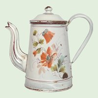 1800s Graniteware Coffee Pot- Hand-Painted Poppy Flower Decor