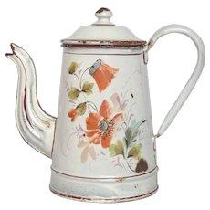1800s Graniteware Coffee Pot- Hand-Painted Poppy Flower Decor
