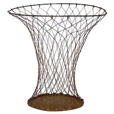 Vintage Wire Paper Bin - Garbage Pail - Waste Paper Basket