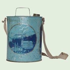 Vintage French Lourdes Water Jug -  Toleware Holy Water Bottle - Notre Dame de Lourdes Souvenir / St Bernadette