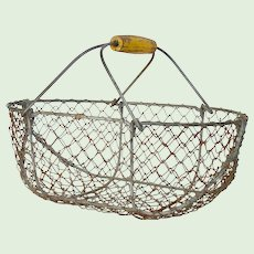 Small Sized Vintage French Wire Basket - Garden Trug - Harvest Basket - Garden Caddy