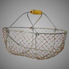 Small Sized Vintage French Wire Basket - Garden Trug - Harvest Basket - Garden Caddy