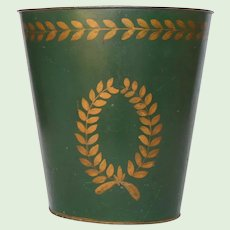 Toleware Waste Paper Pail - Tole Ware Bin - Painted Hunter Green