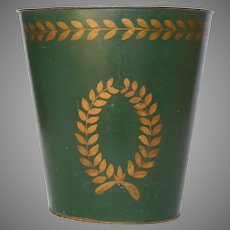 Toleware Waste Paper Pail - Tole Ware Bin - Painted Hunter Green