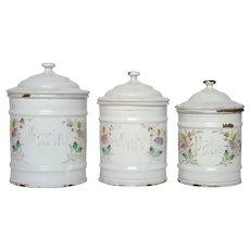 Floral Design Enamel Graniteware Storage Canisters - Enamelware Pots with Flowers