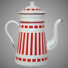 Red and White Striped Enamel Graniteware Drip Coffee Pot - Enamelware Coffee Biggin