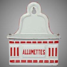 Enamelware Match Keep - Red and White Enamel Graniteware Match Box