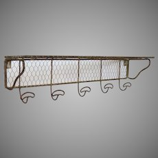 French Wire Ware Coat Rack - Chickenwire Shelf - Chicken Wire Hanging Shelf with Five Hooks