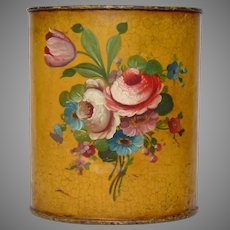 Vintage French Toleware Paper Bin - Tole Ware Garbage Pail - Floral Waste Paper Basket