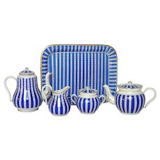 EXCEPTIONAL Hand Painted Enamelware Coffee Server, Tea Pot, Sugar Bowl, Creamer and Tray