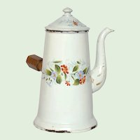 French Graniteware Floral Enameled Coffee Pot Server