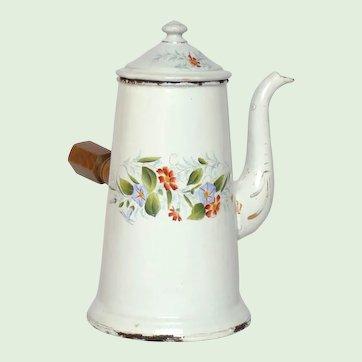 French Graniteware Floral Enameled Coffee Pot Server