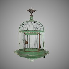 Petite French Metalware Bird Cage - Painted Zinc Tabletop Birdcage