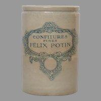 LARGE French FELIX POTIN Preserves Pot - Jam Crock - Jelly Jar - Stoneware