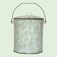 Green & White Swirl Enamelware Large Bucket - Graniteware Lidded Pail