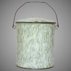 Green & White Swirl Enamelware Large Bucket - Graniteware Lidded Pail