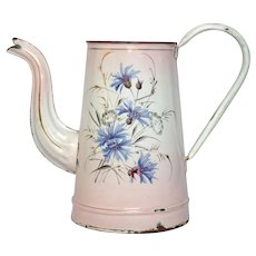 PINK Shaded Hand-Painted Floral Enamelware Coffee Pot from France