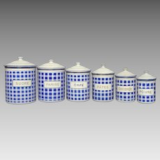 Compete Set of Six French Enamelware Kitchen Canisters - Graniteware Storage Pots