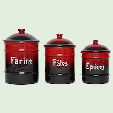 BLACK & Red Enameled French Canister Set - Rare Graniteware Coloring