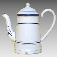Petite French Enamelware Coffee Pot Early 1900s