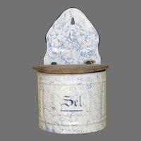 Light Blue Mottled Enamelware Salt Keep - French Graniteware Salt Box