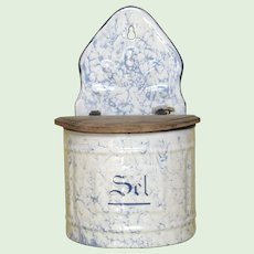 Light Blue Mottled Enamelware Salt Keep - French Graniteware Salt Box