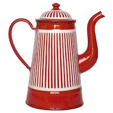 Red & White Striped French Enamel Graniteware Coffee Pot