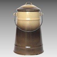 French Enamel Graniteware Milk Pot / Milk Carrier