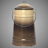 French Enamel Graniteware Milk Pot / Milk Carrier