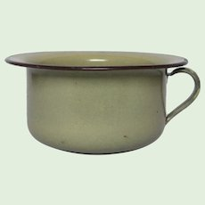 French Enamel Graniteware Handled Chamber Pot - Flower Pot