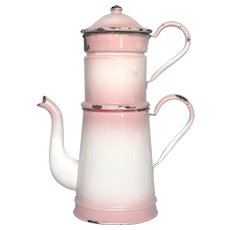 Pink Shaded Enamelware Graniteware Drip Coffee Pot from France