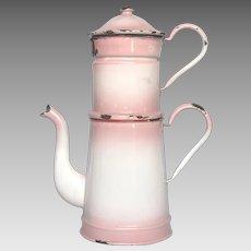 Pink Shaded Enamelware Graniteware Drip Coffee Pot from France