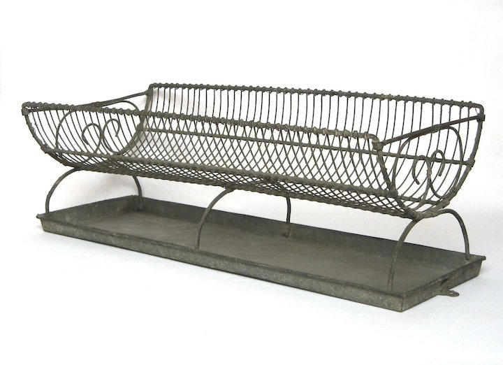 Xl Antique French Wire Dish Drainer With Zinc Tray Dryer
