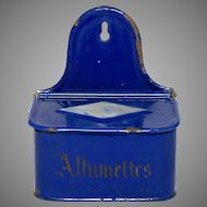 Cobalt Blue Enamel Graniteware Match Holder - Match Box - Match Keep