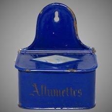 Cobalt Blue Enamel Graniteware Match Holder - Match Box - Match Keep