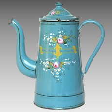Splendid Hand-Painted Floral Enamelware Coffee Pot