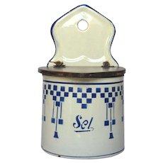 French Enamel Graniteware Salt Box - Blue Lustucru Check Design