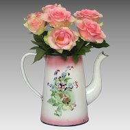 Pink Shaded JAPY Floral Enamel French Coffee Pot - No Lid