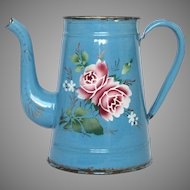 French Enamel Graniteware Coffee Pot from the early 1900s with Floral Decor