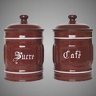 Pair of Enameled Graniteware Canisters - Coffee and Sugar