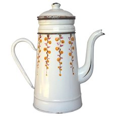 French Enameled Drip Coffee Biggin - Stylized Hand-Painted Floral Design