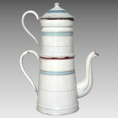 Vintage French Enamel Graniteware Drip Coffee Biggin