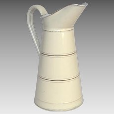 Near-Mint French Enameled Graniteware Pitcher - Uncommon Size