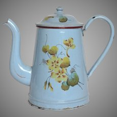 REDUCED : French Enamel Hand-painted Floral Graniteware Coffee Pot