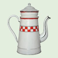 Red & White Lustucru Checkerboard Band French Farm House Enamel Drip Coffee Pot