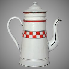 Red & White Lustucru Checkerboard Band French Farm House Enamel Drip Coffee Pot