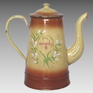 CLEARANCE SALE! Antique Hand-Painted French Enamel Coffee Pot