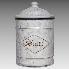 French Enamel Sugar Canister - Blue Veined Snow on the Mountain Pattern